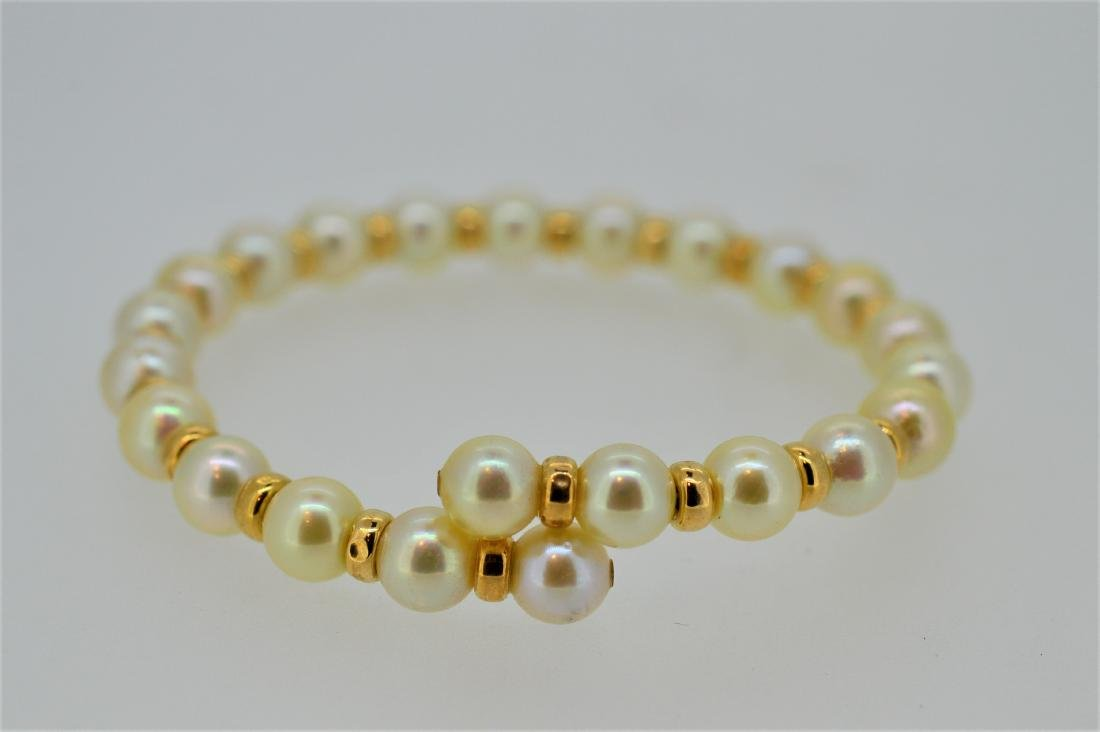 """Ladies 7"""" Pearl Flexible Cuff Bracelet with 14K Gold"""