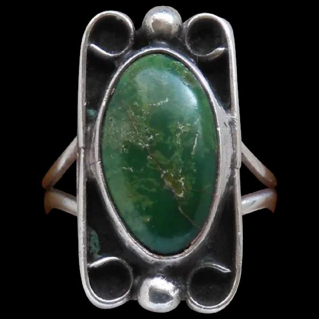 Vintage Fred Harvey Era Turquoise Sterling Silver Ring