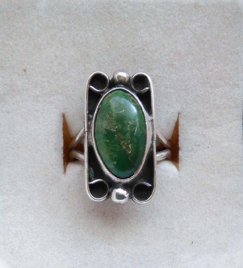 Vintage Fred Harvey Era Turquoise Sterling Silver Ring - 5