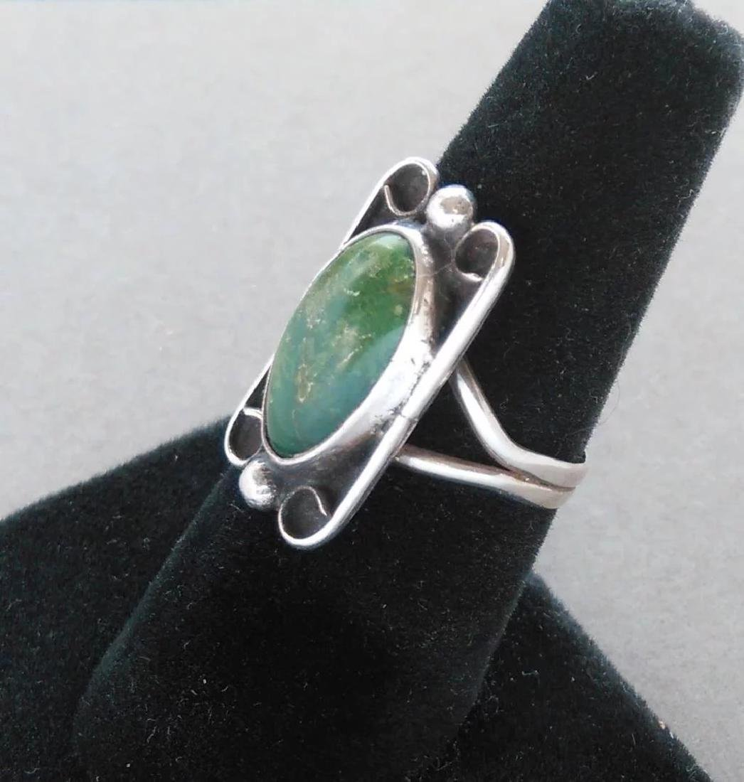 Vintage Fred Harvey Era Turquoise Sterling Silver Ring - 6