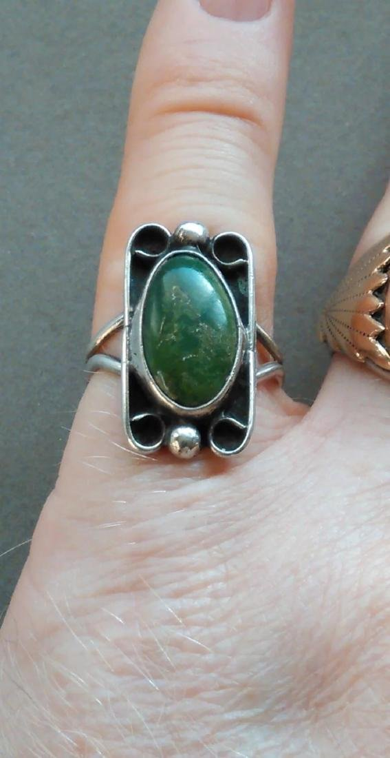 Vintage Fred Harvey Era Turquoise Sterling Silver Ring - 8