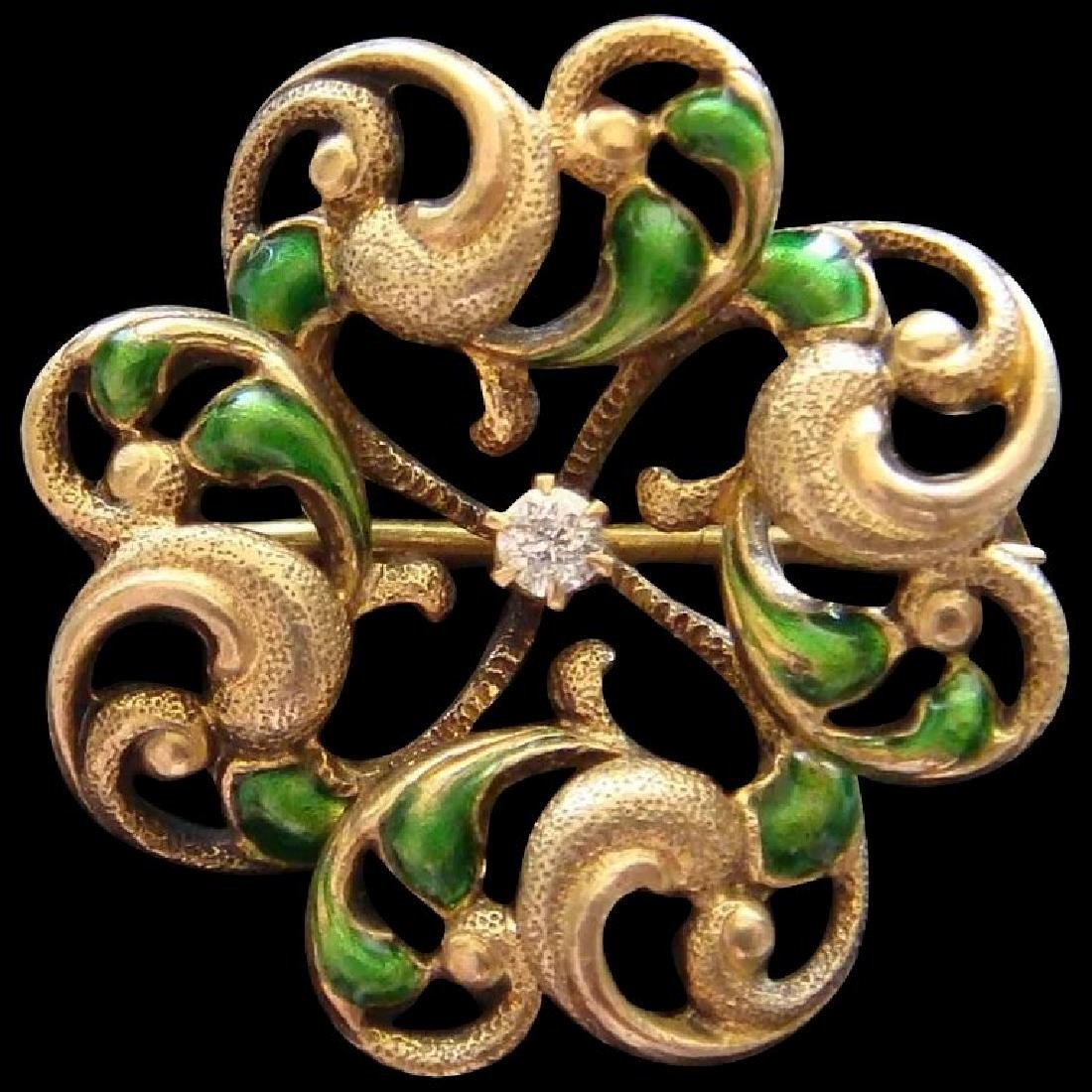 Art Nouveau 14K Gold Green Enamel Diamond Brooch