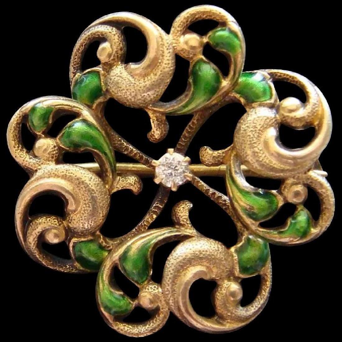 Art Nouveau 14K Gold Green Enamel Diamond Brooch