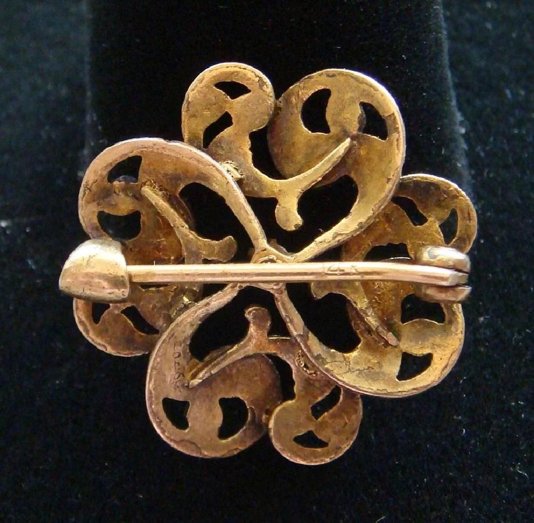 Art Nouveau 14K Gold Green Enamel Diamond Brooch - 2