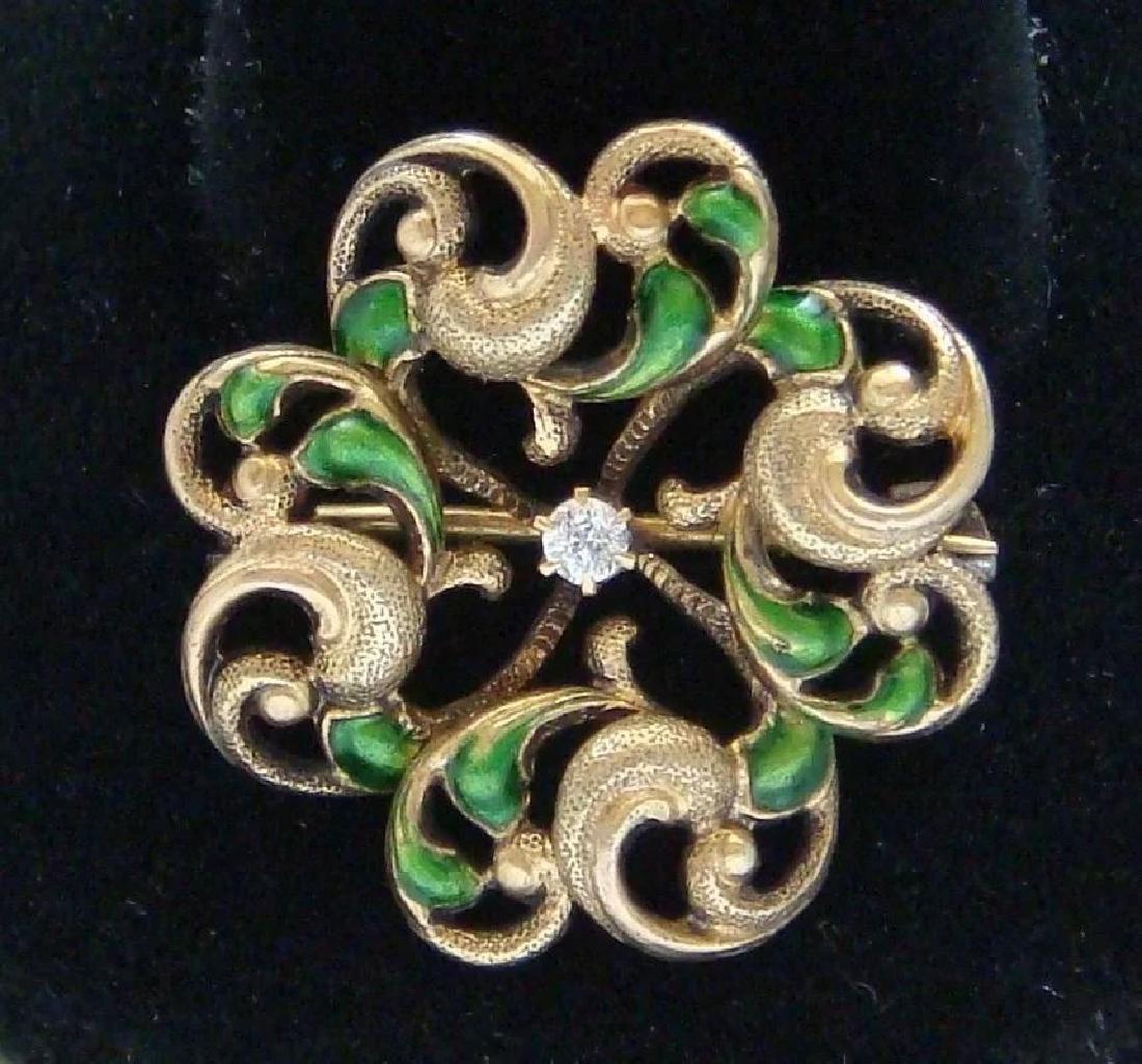 Art Nouveau 14K Gold Green Enamel Diamond Brooch - 3