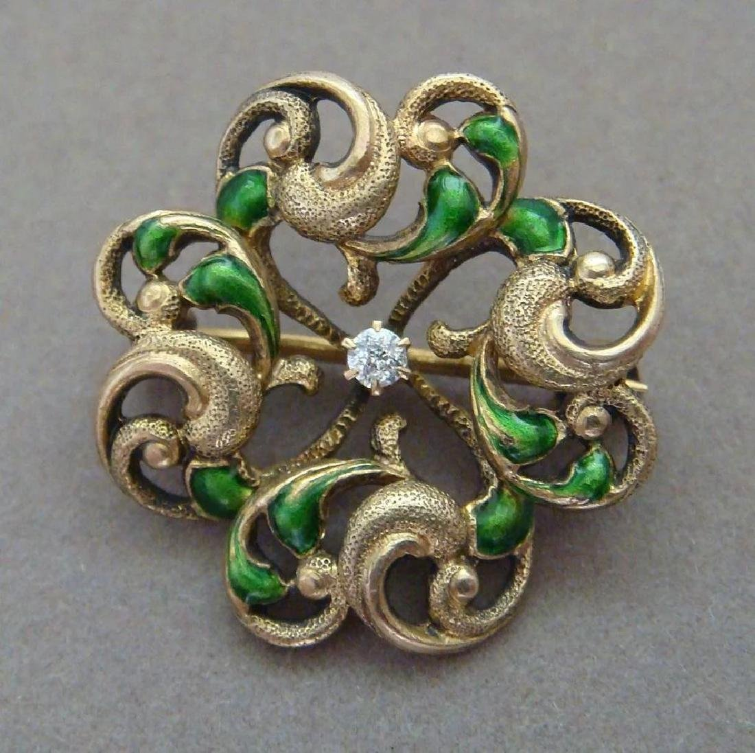 Art Nouveau 14K Gold Green Enamel Diamond Brooch - 4
