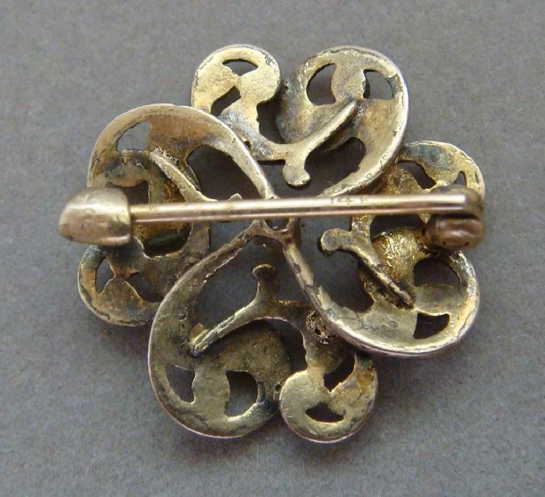 Art Nouveau 14K Gold Green Enamel Diamond Brooch - 5
