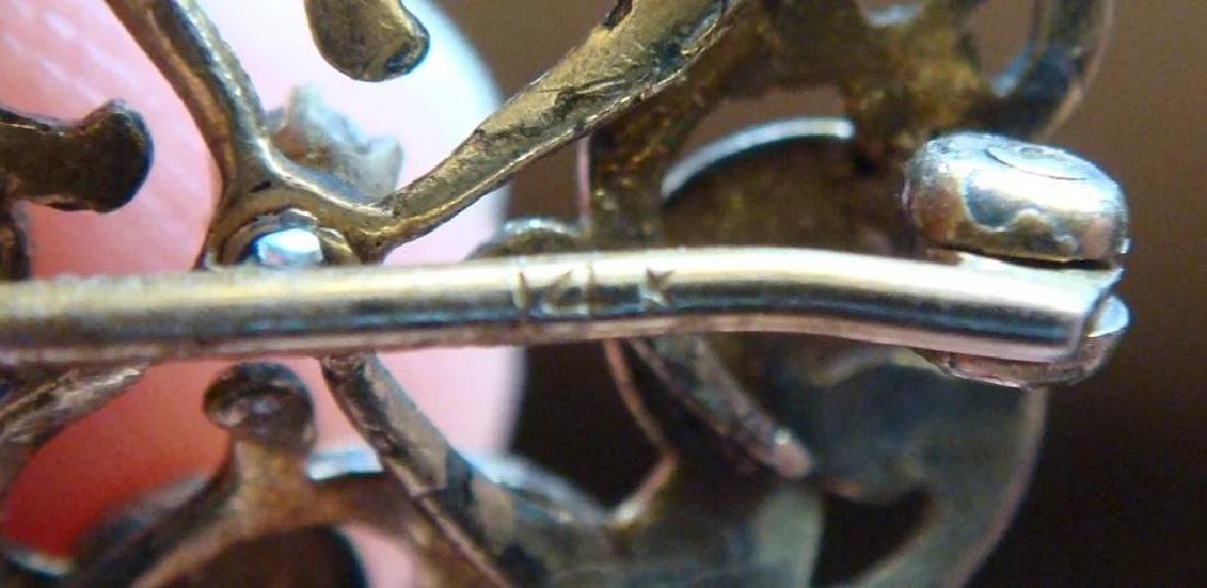 Art Nouveau 14K Gold Green Enamel Diamond Brooch - 6