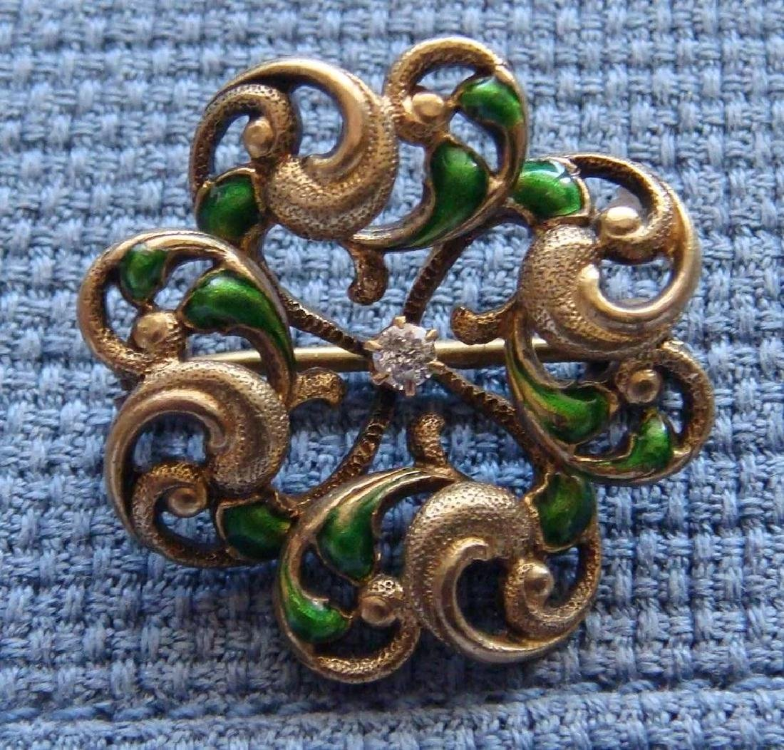 Art Nouveau 14K Gold Green Enamel Diamond Brooch - 7