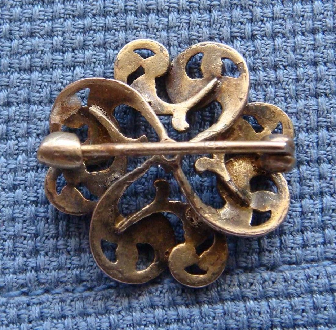 Art Nouveau 14K Gold Green Enamel Diamond Brooch - 8