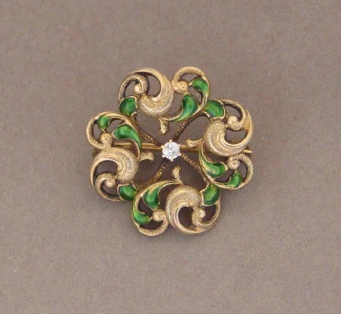 Art Nouveau 14K Gold Green Enamel Diamond Brooch - 9
