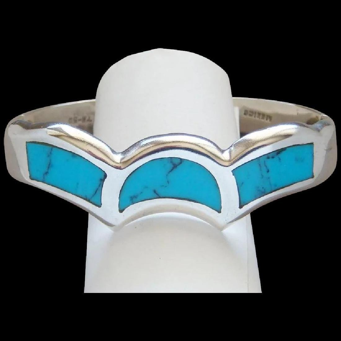 Vitnage Mexican 950 Silver Turquoise Cuff Bracelet