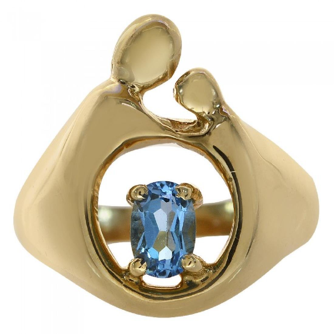 14K Yellow Gold Blue Topaz Mother & Child Ring, .5ct