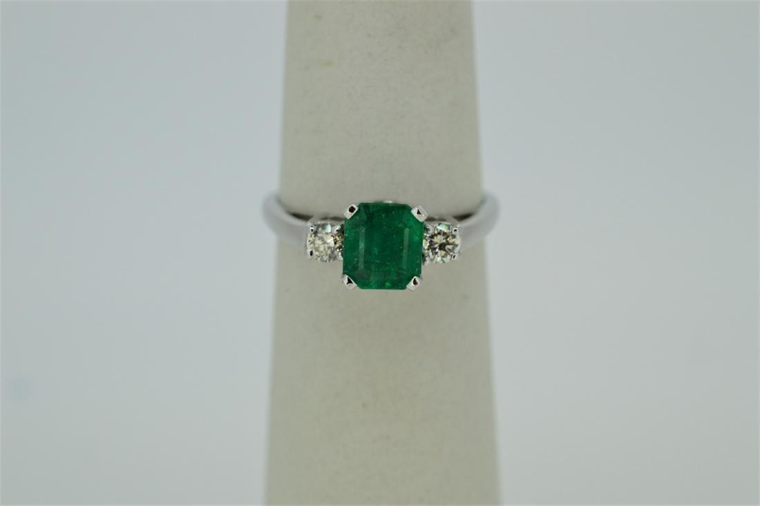 Ladies 14k White Gold & Emerald/Diamond Ring, 1.18ct