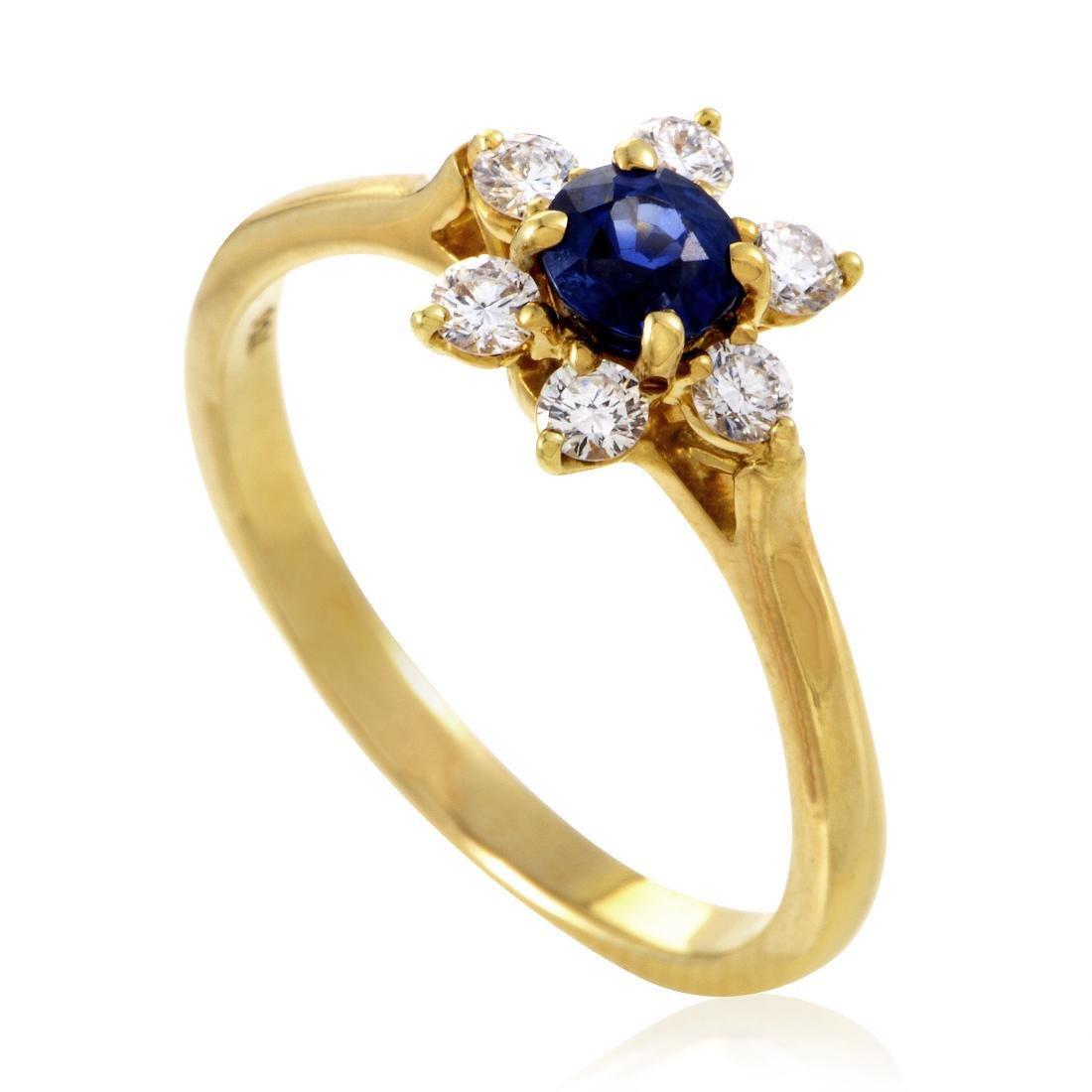 Tiffany & Co 18K Gold Diamond Sapphire Flower Ring