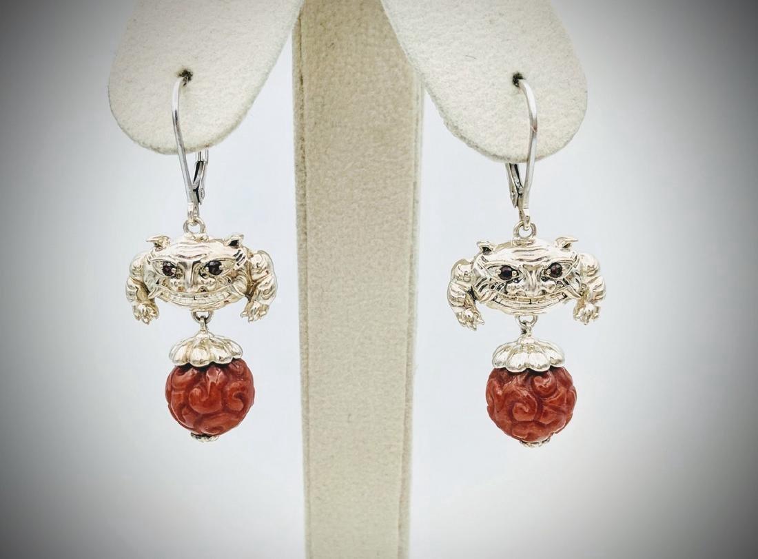 Sterling Silver Jasper Ruby Oriental Dragon Earrings