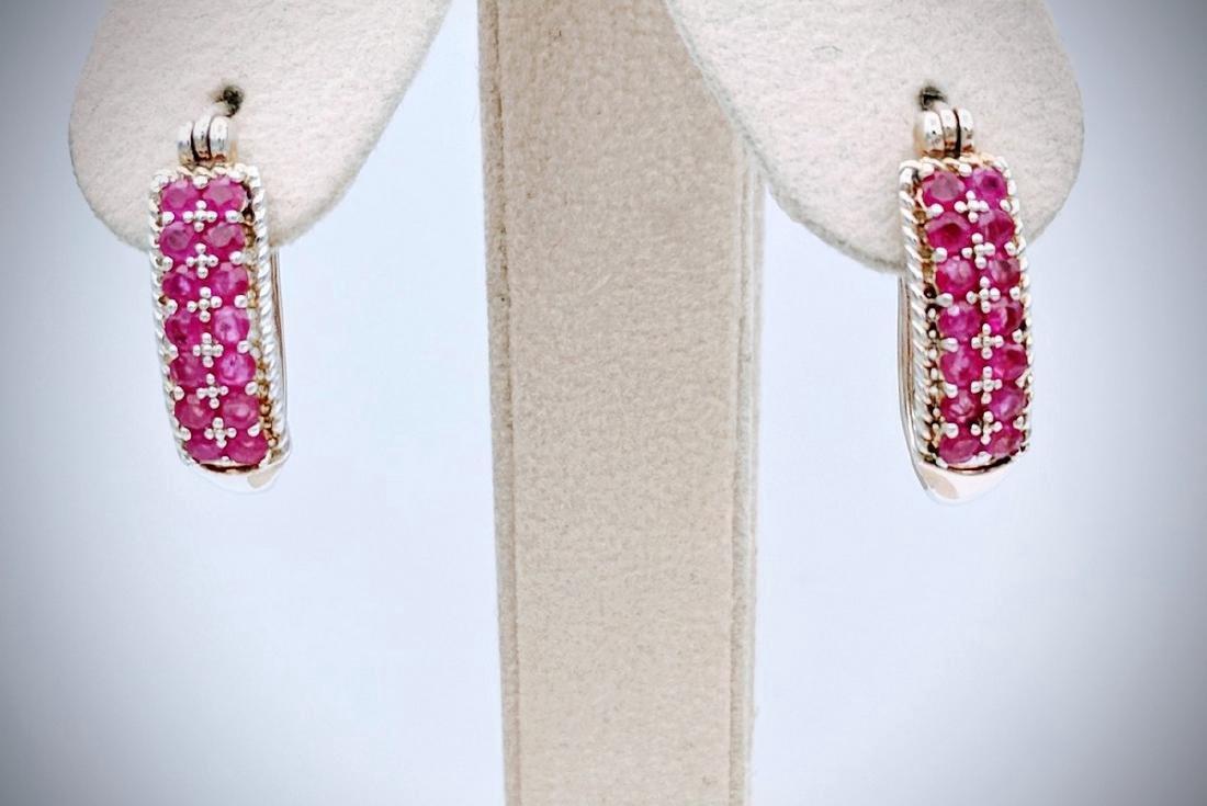 Sterling Silver Oval Hoop Earrings with Rubies, .42ctw