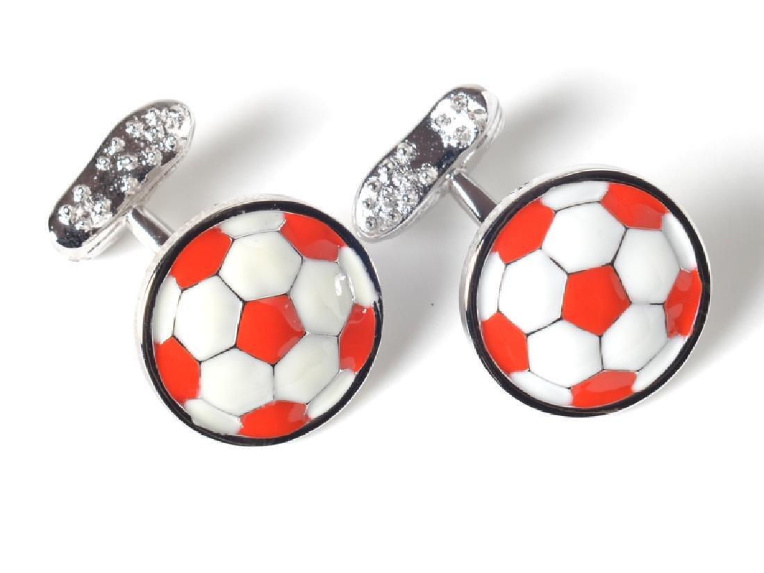 Tateossian RT Rhodium Plated Enamel Football Cufflinks