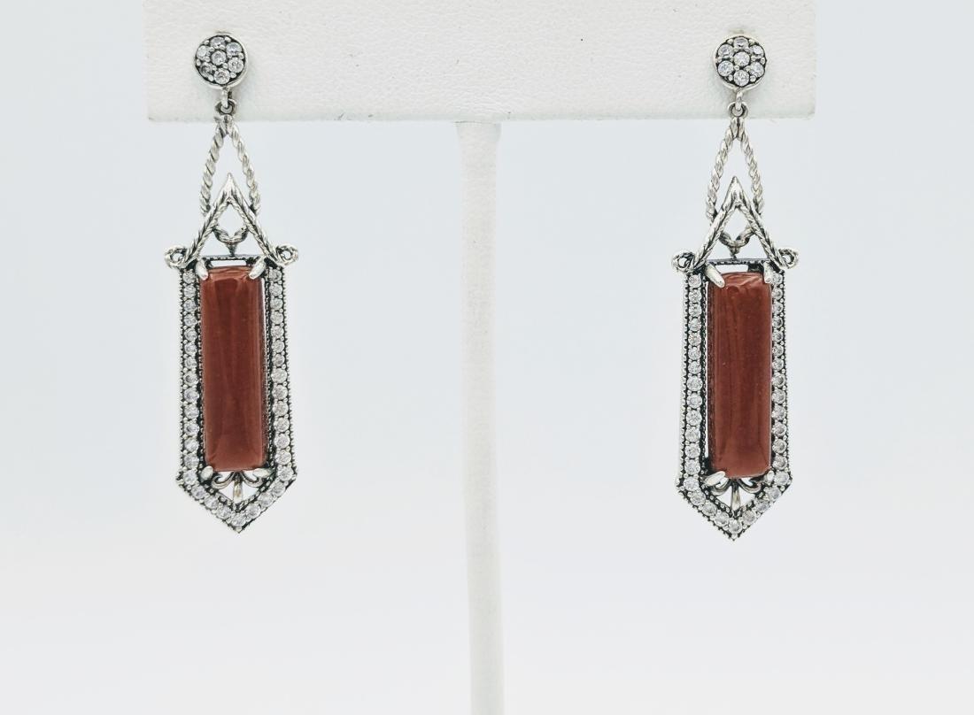 Sterling Silver Imperial Designed Earrings with Jasper