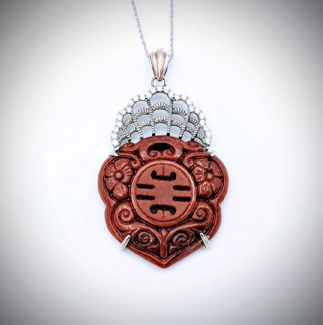 Sterling Silver Carved Jasper Cubic Zirconia Necklace