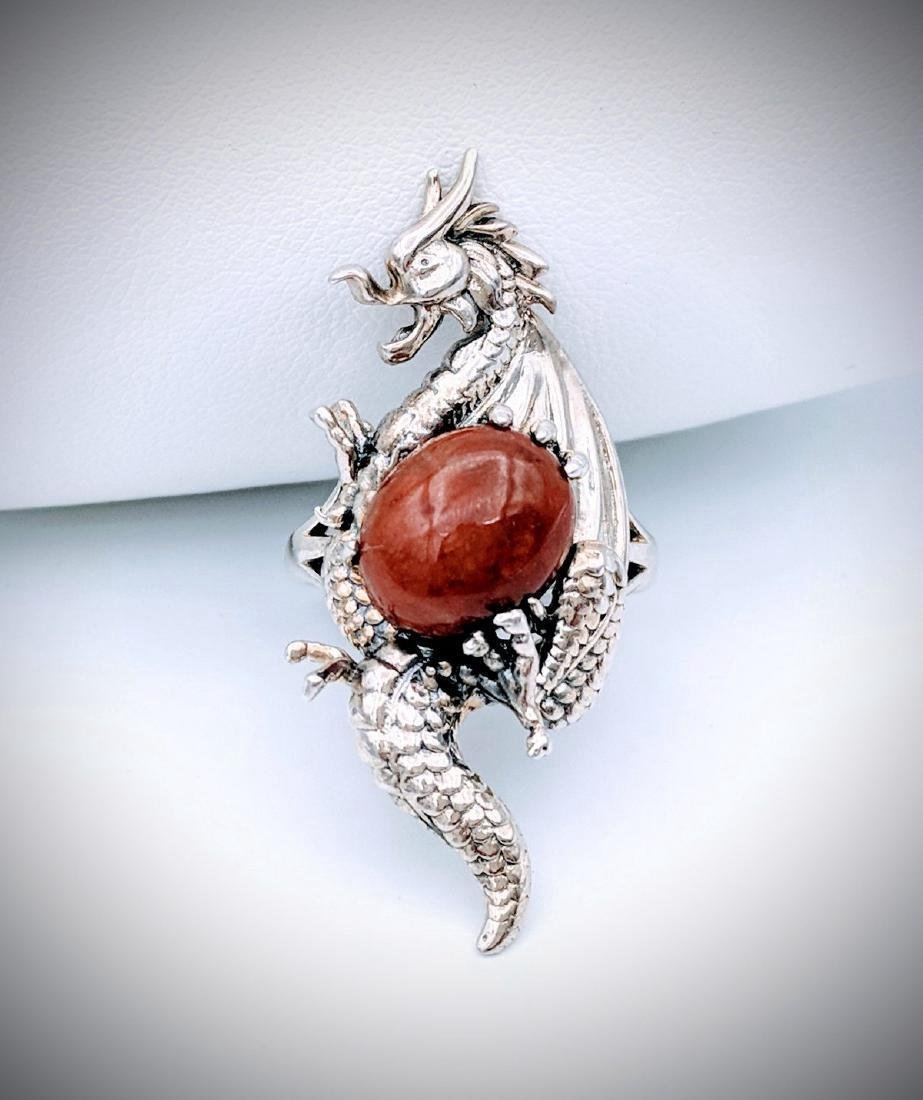 Sterling Silver Dragon Designed Ring with Jasper