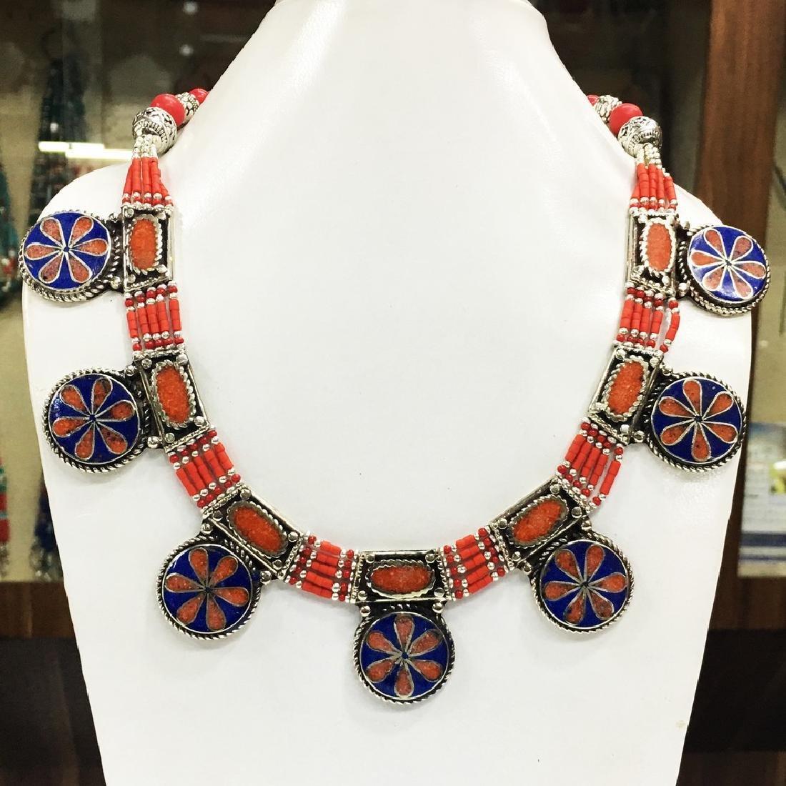 Tibetan Silver Coral Handmade Choker Necklace