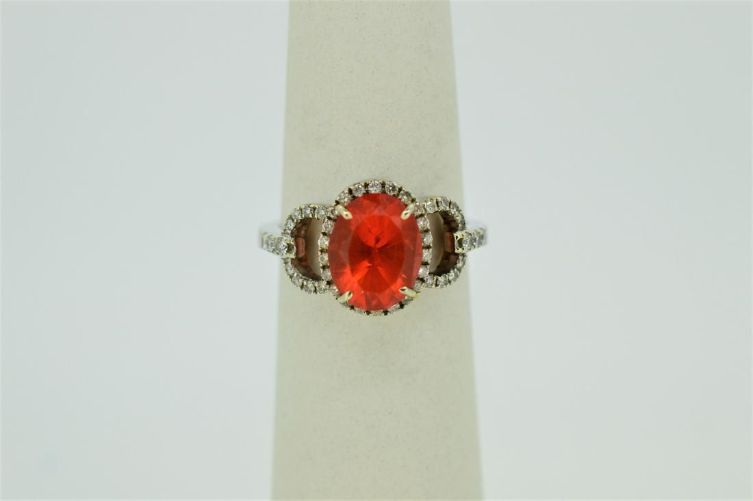 14k White Gold & Fire Opal with Diamond Ring, 4ct