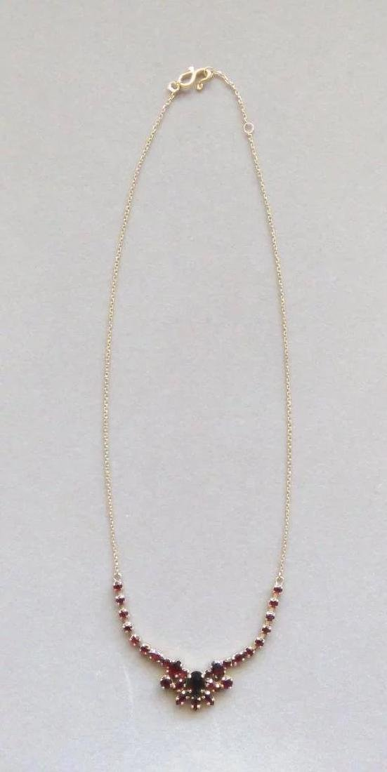Vintage 24K Yellow Gold Red Garnet Necklace - 2