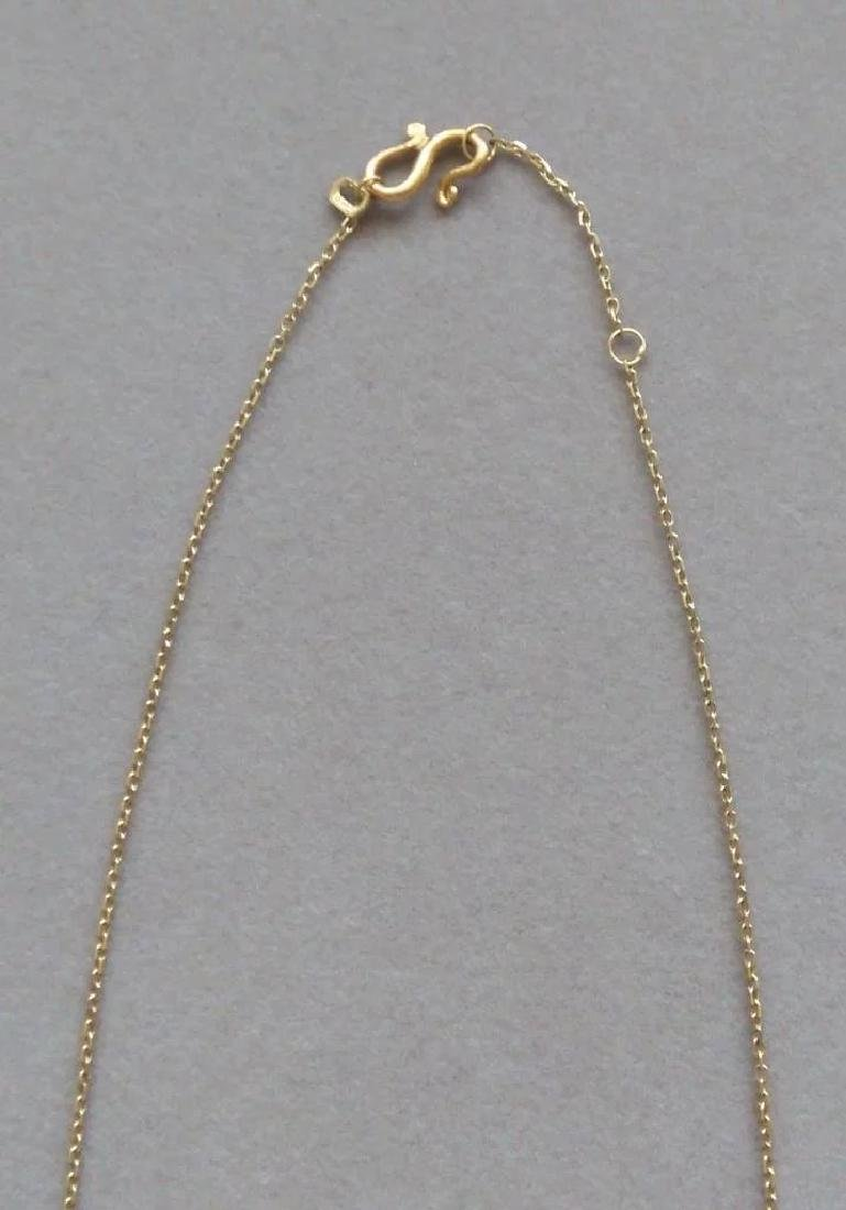 Vintage 24K Yellow Gold Red Garnet Necklace - 3