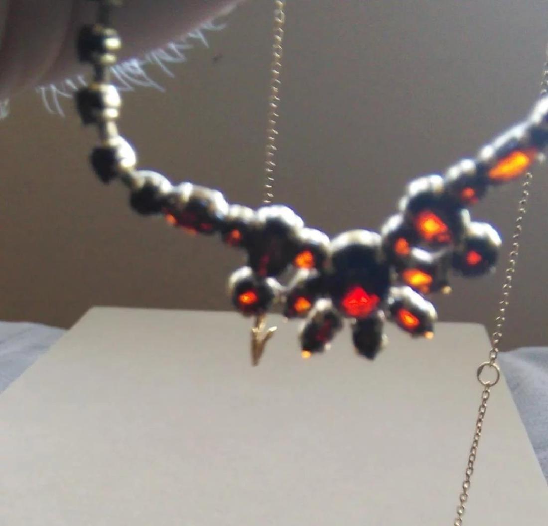Vintage 24K Yellow Gold Red Garnet Necklace - 8