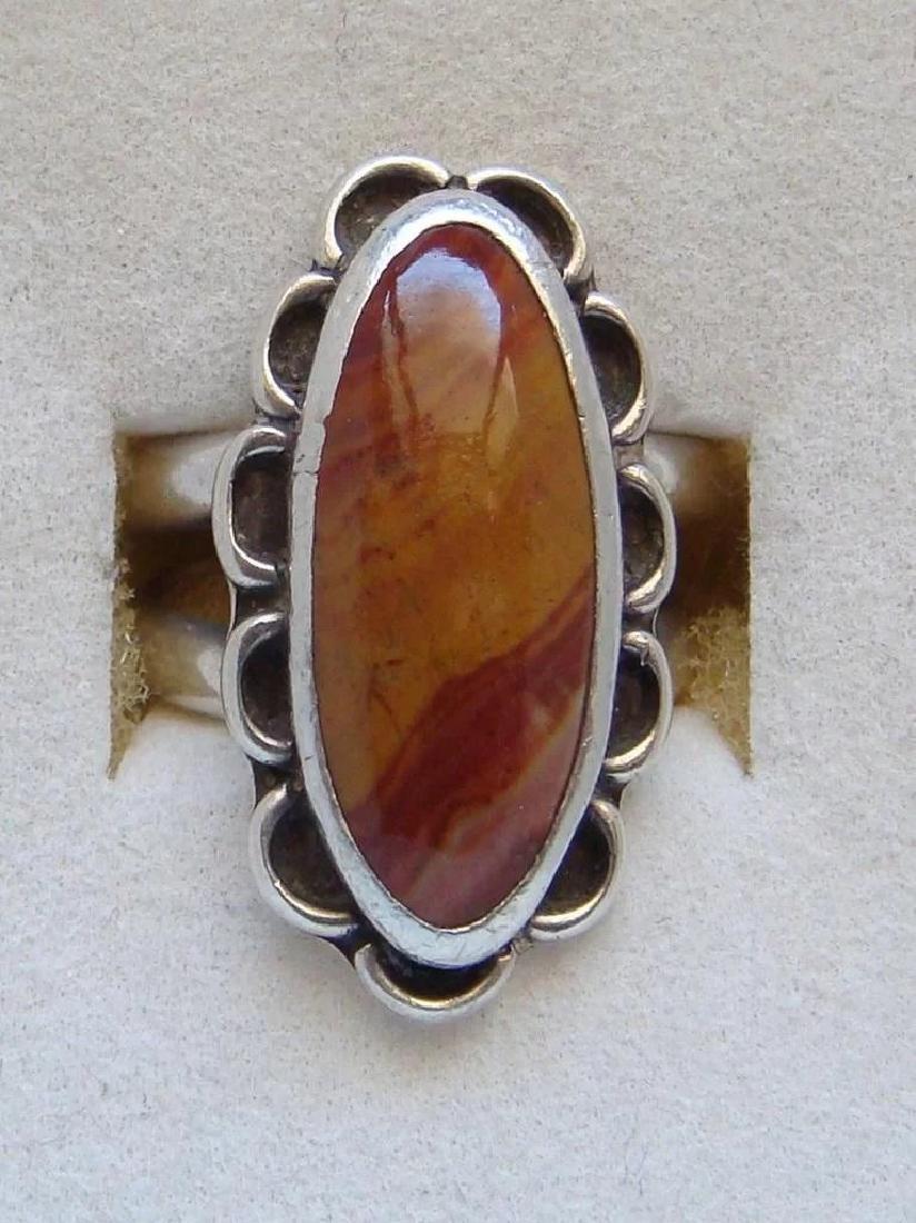 Vintage Sterling Silver Desert Jasper Southwestern Ring - 2