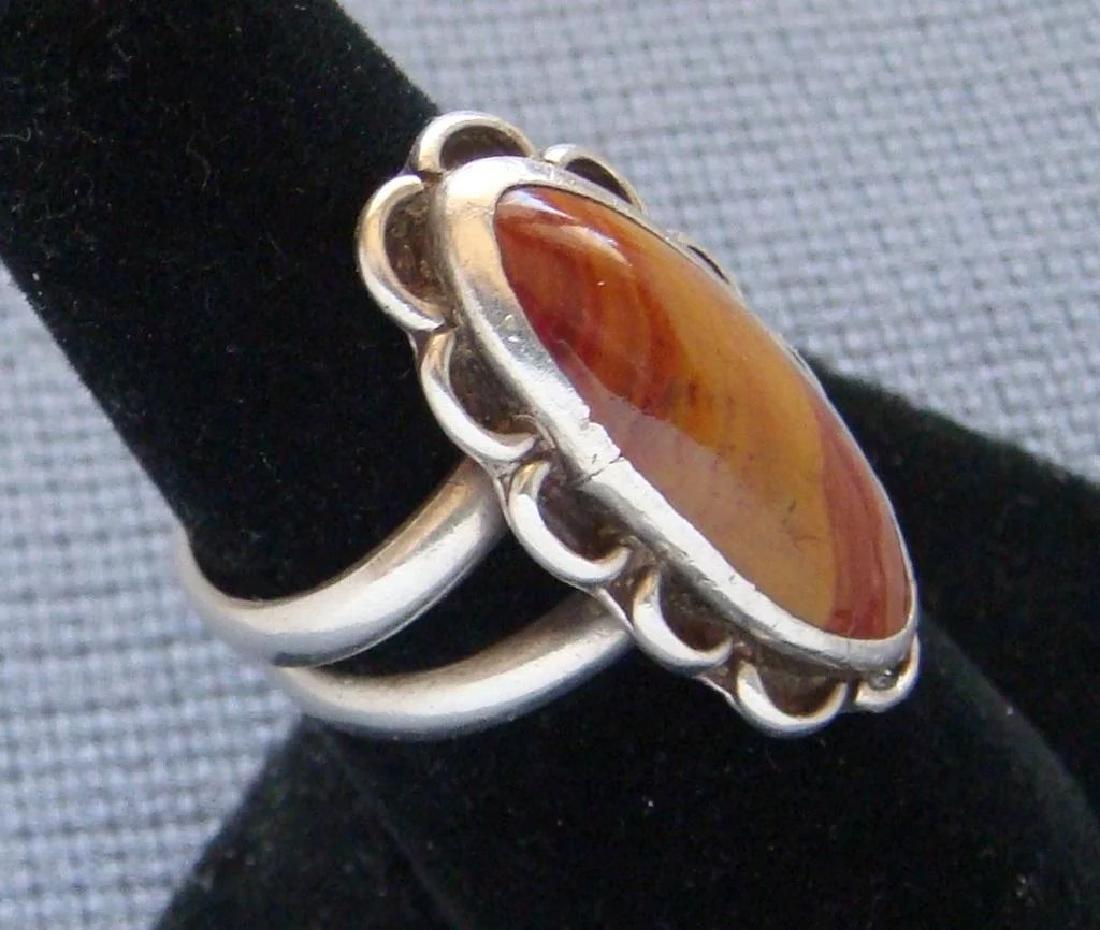 Vintage Sterling Silver Desert Jasper Southwestern Ring - 3