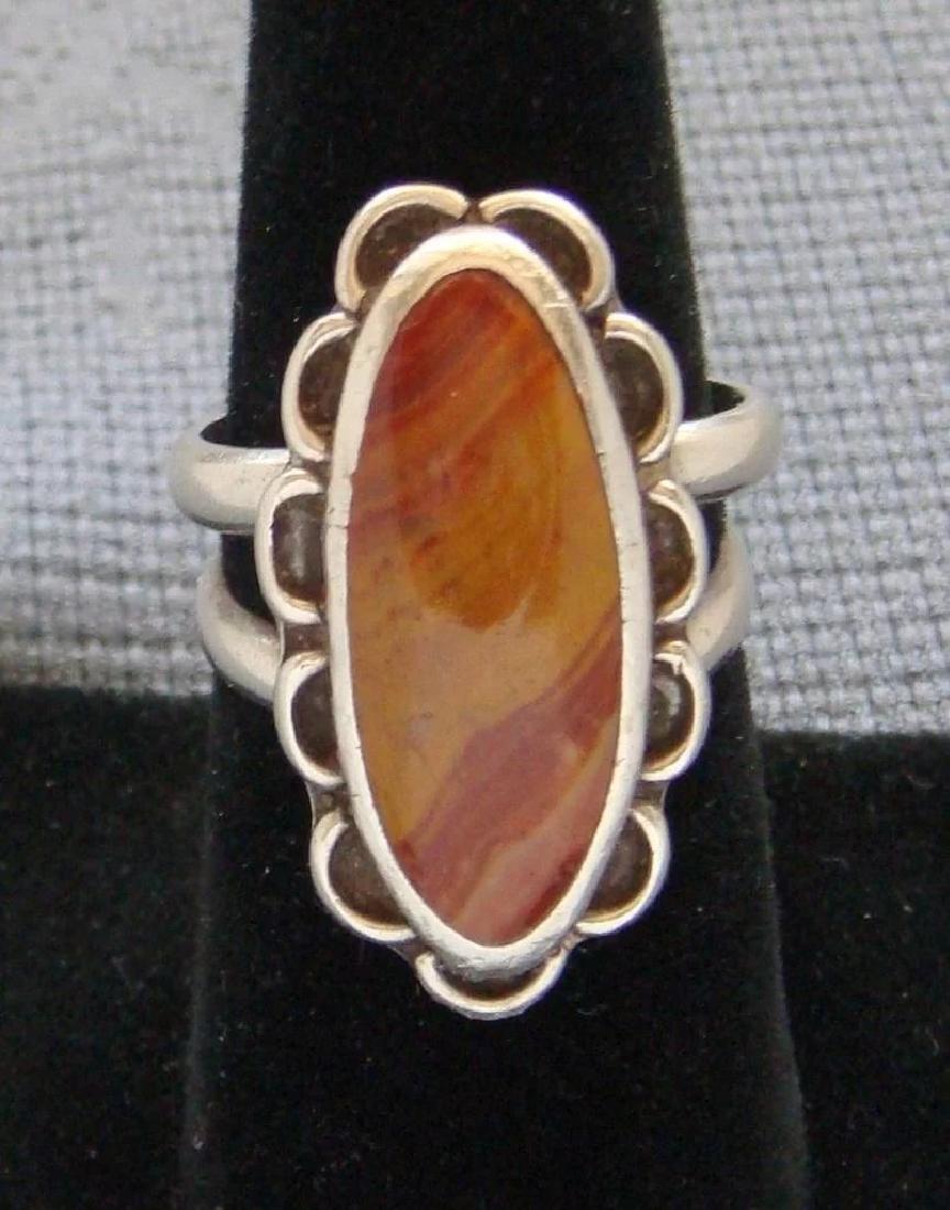 Vintage Sterling Silver Desert Jasper Southwestern Ring - 4
