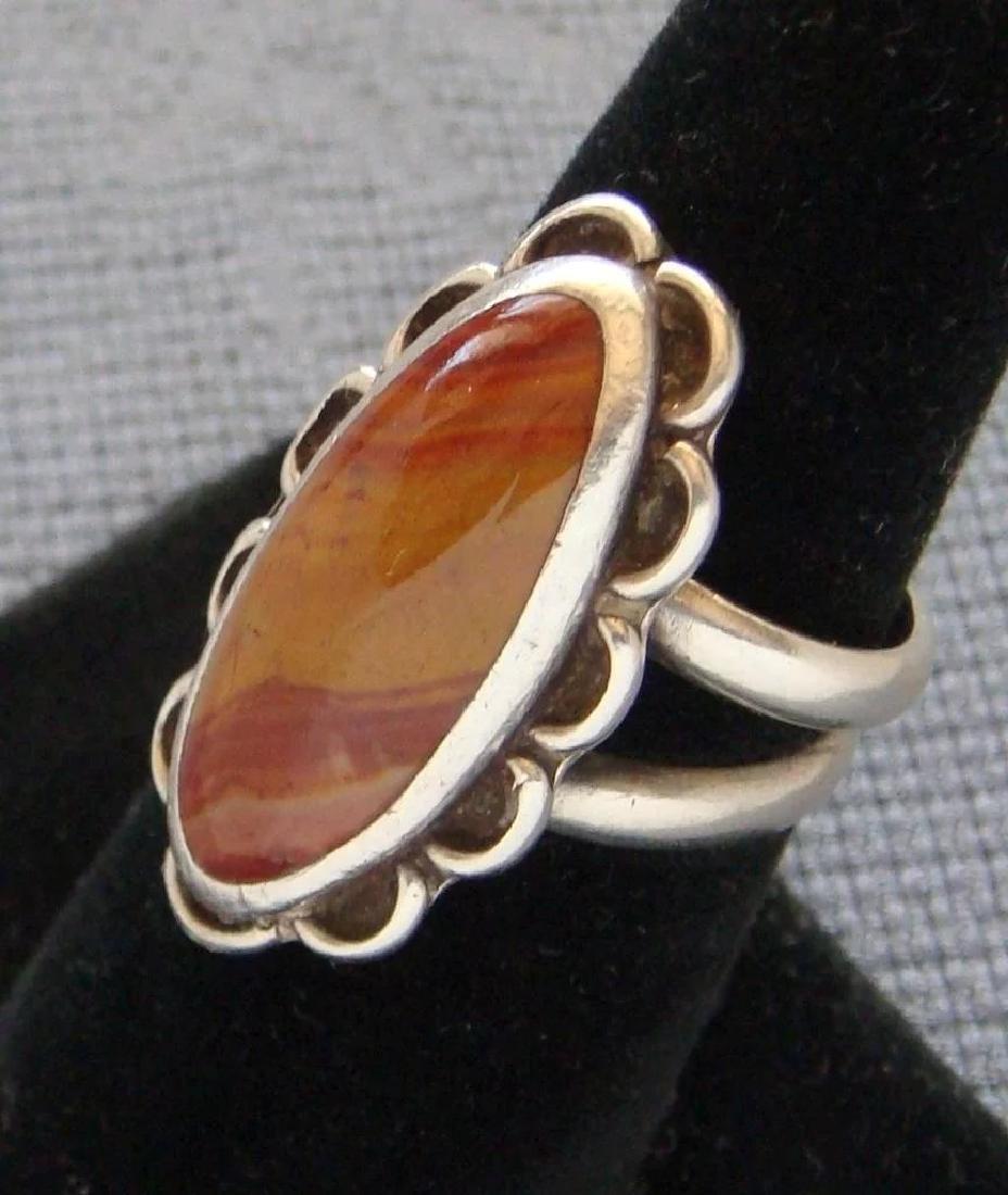 Vintage Sterling Silver Desert Jasper Southwestern Ring - 5
