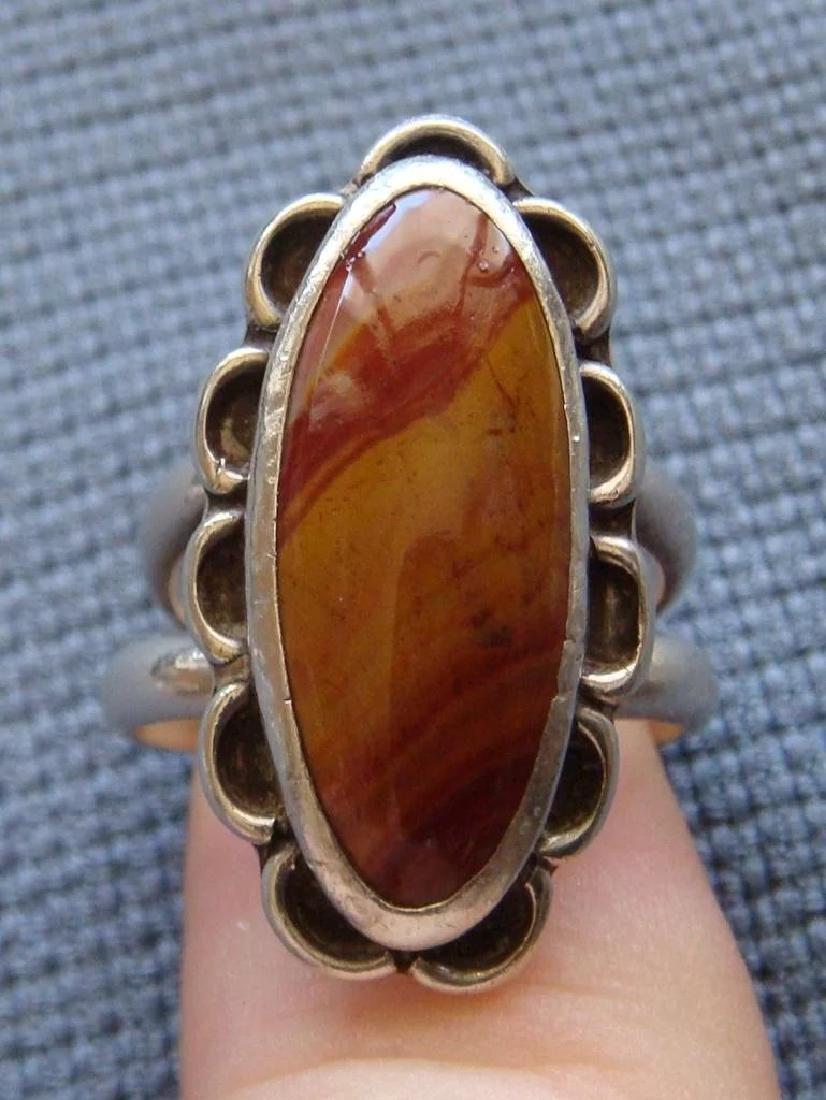 Vintage Sterling Silver Desert Jasper Southwestern Ring - 6