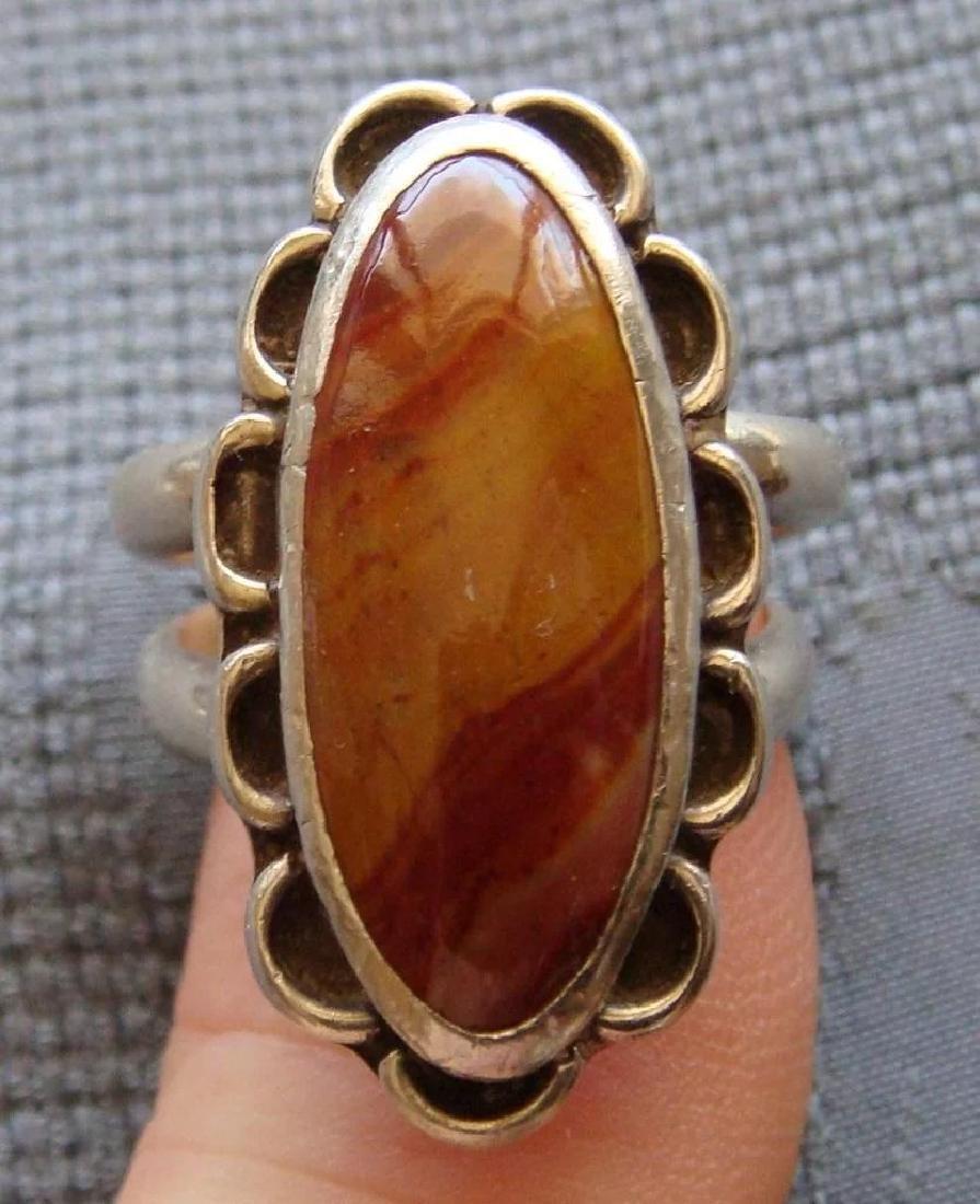 Vintage Sterling Silver Desert Jasper Southwestern Ring - 8