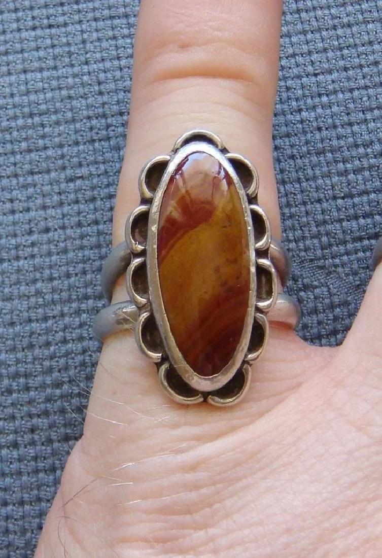 Vintage Sterling Silver Desert Jasper Southwestern Ring - 9