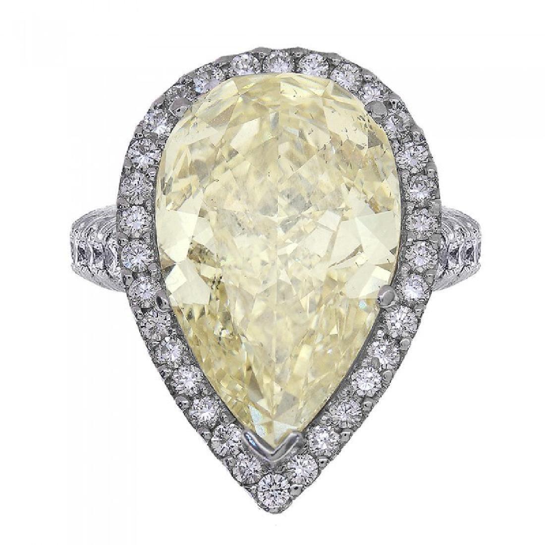 Platinum Fancy Yellow Diamond Engagement Ring, 14.99ct