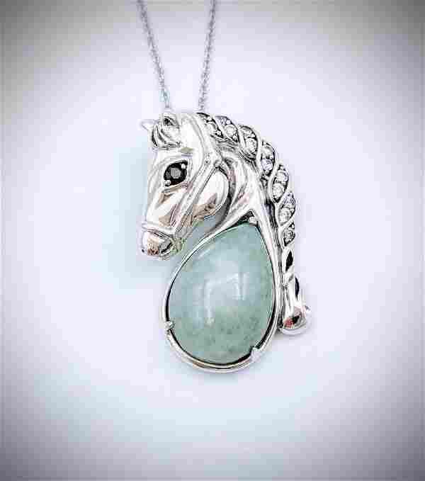 Sterling Silver Jade Garnet CZ Figural Horse Necklace