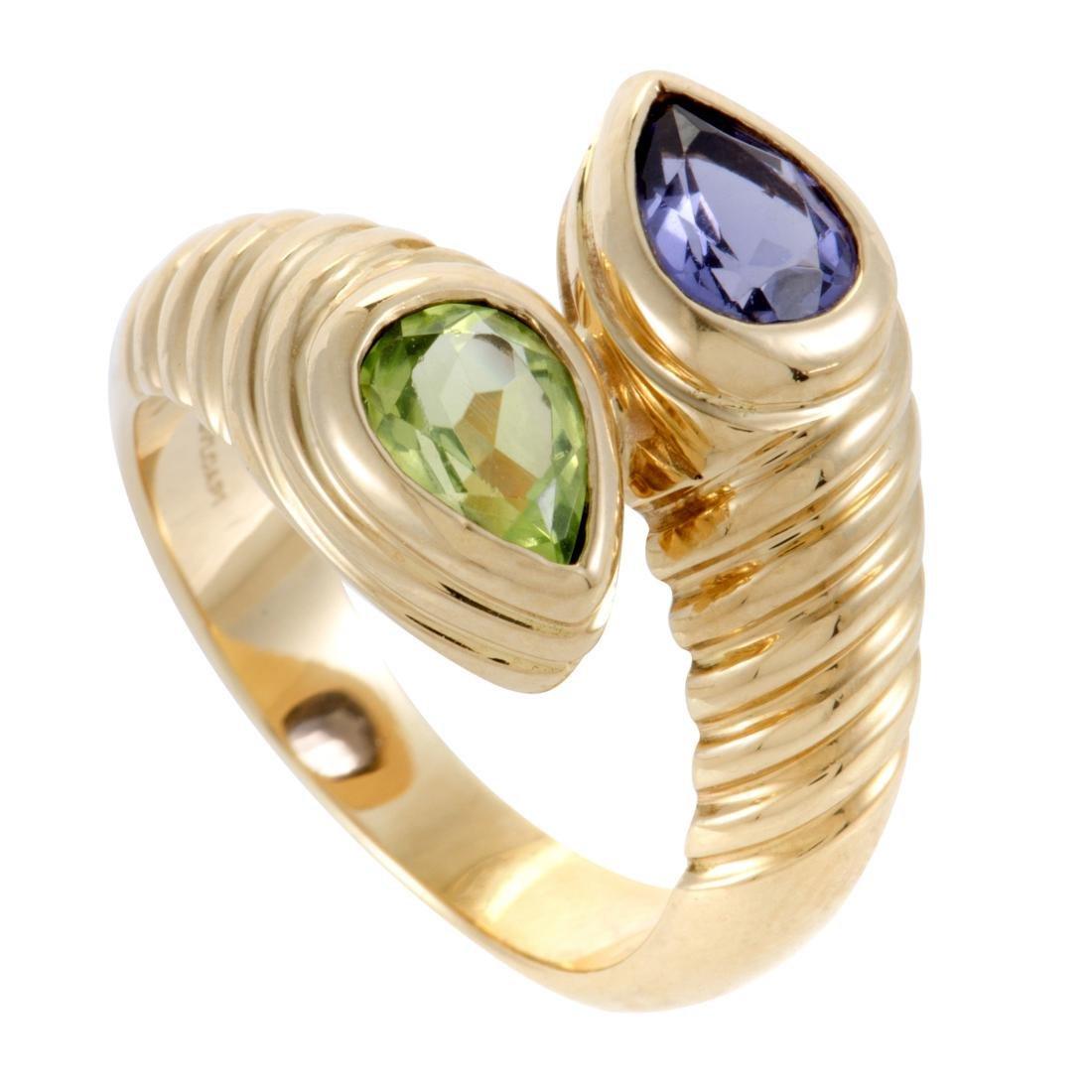 Doppio 18K Yellow Gold Iolite and Peridot Bypass Ring