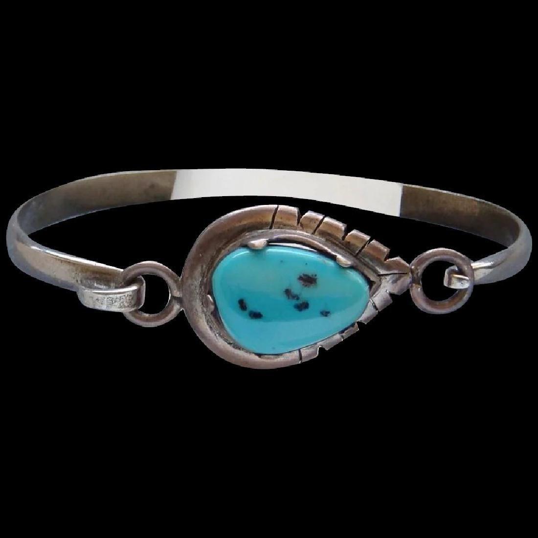 Vintage Sterling Silver Kingman Turquoise Bracelet