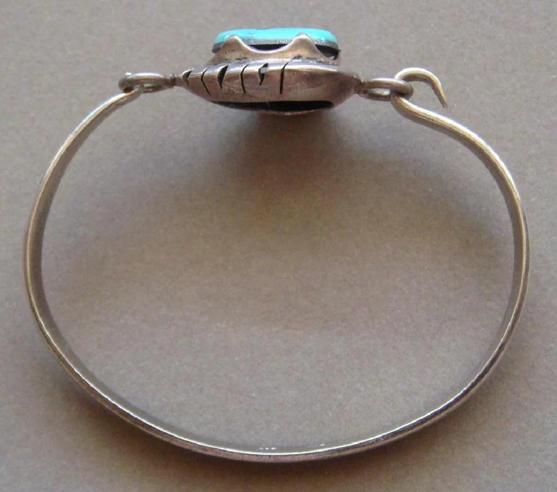 Vintage Sterling Silver Kingman Turquoise Bracelet - 3