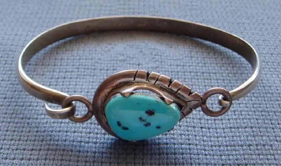 Vintage Sterling Silver Kingman Turquoise Bracelet - 6
