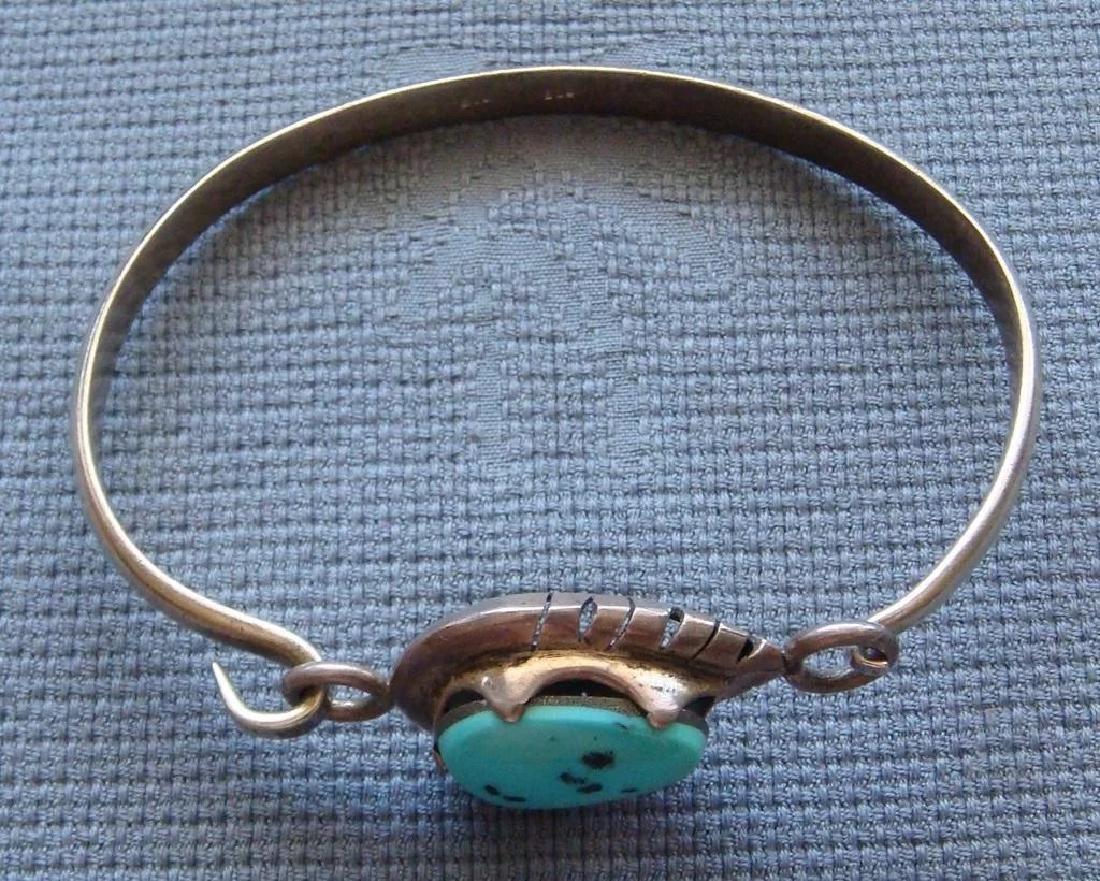 Vintage Sterling Silver Kingman Turquoise Bracelet - 7
