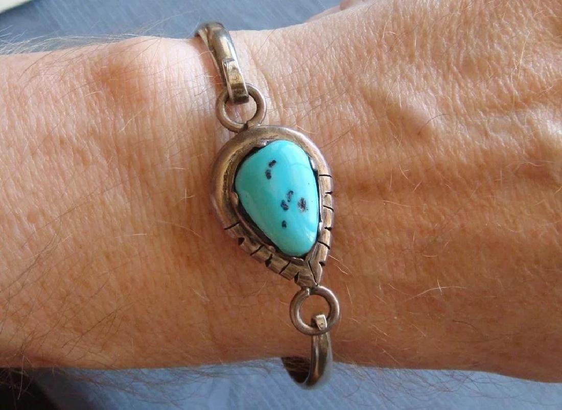 Vintage Sterling Silver Kingman Turquoise Bracelet - 8