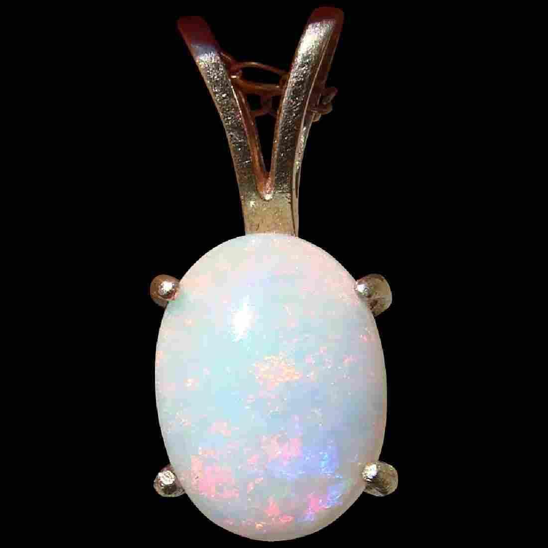 English 9K Gold White Fire Opal Pendant
