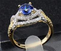 14KT Solid Yellow Gold Ring 1.45 ct Natural Sapphire