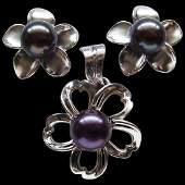 14K White Gold Tahitian Black Pearl Earring Pendant Set