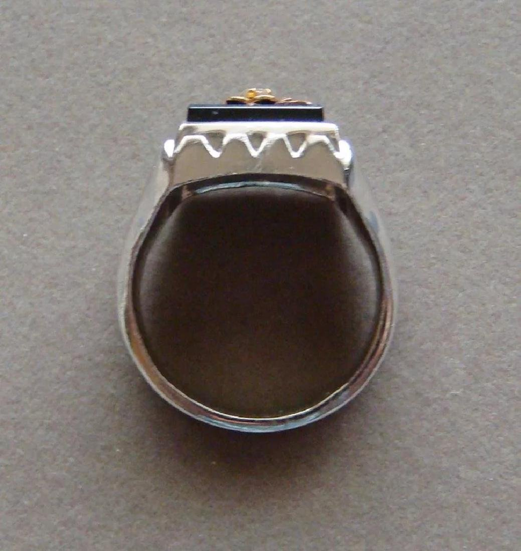 Sterling Silver Black Onyx Diamond Large Men's Ring - 6