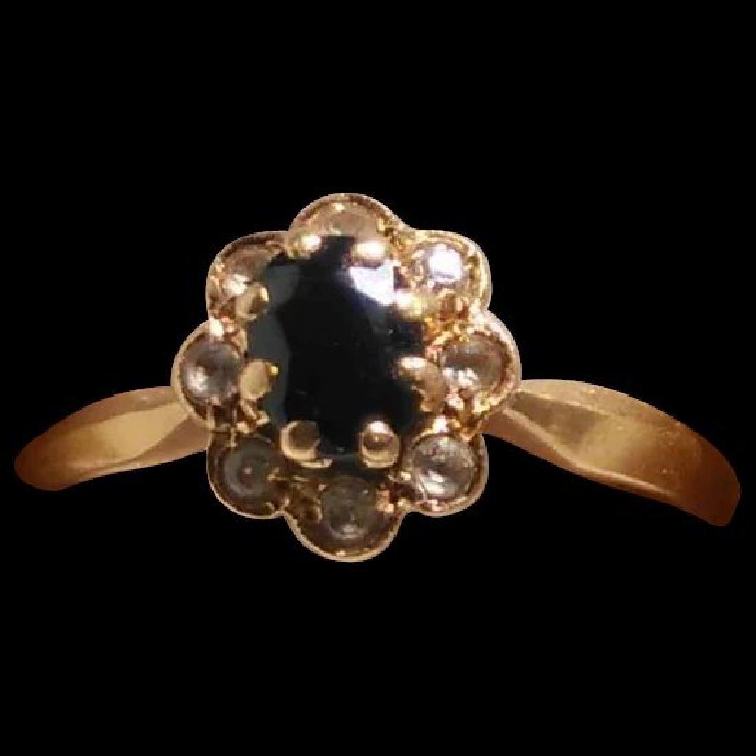 18K Yellow Gold Blue Sapphire Ring